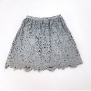 🌿Alya Lace Appliqué Gray Blue Skirt